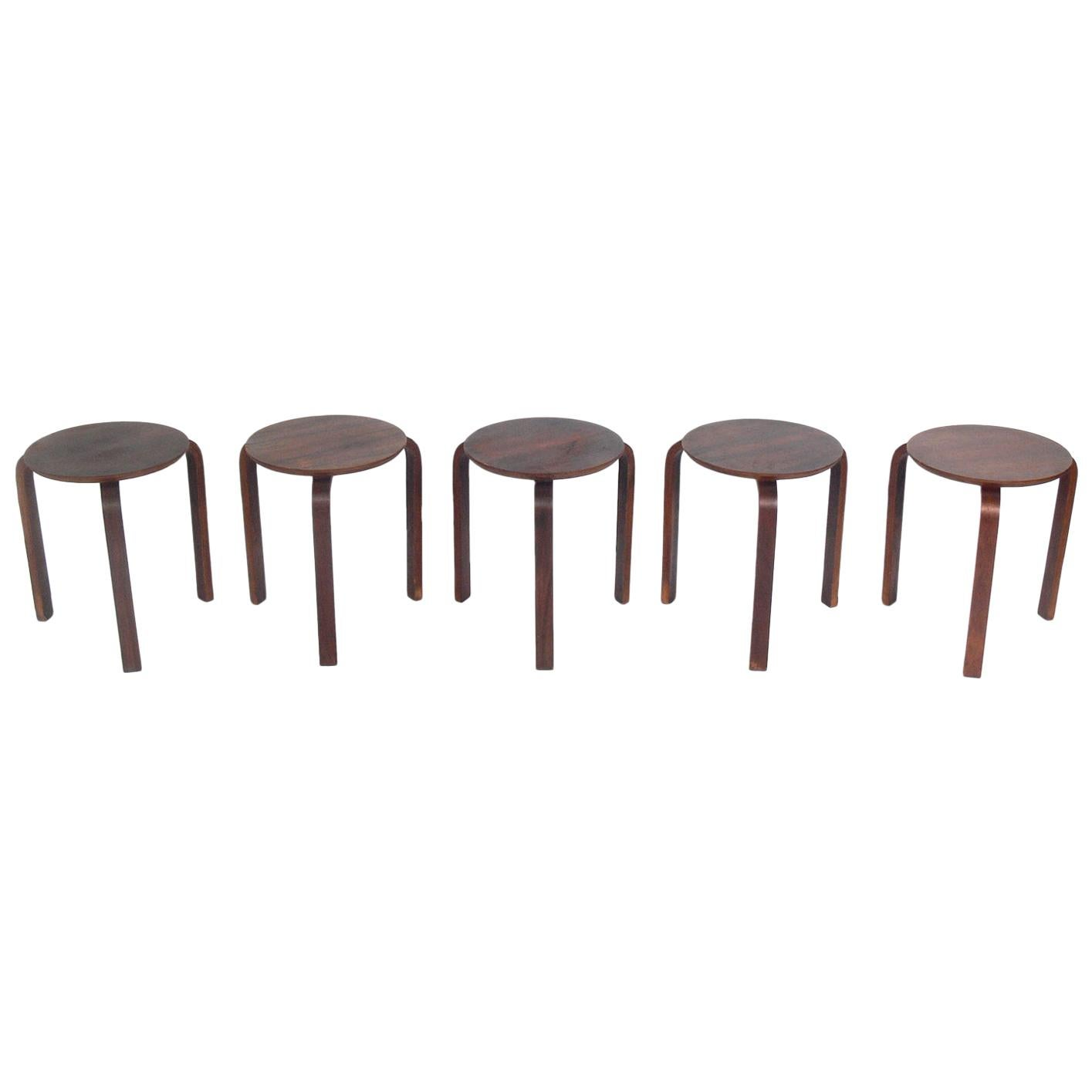 Five Bentwood Stacking Tables or Stools in the Manner of Alvar Aalto