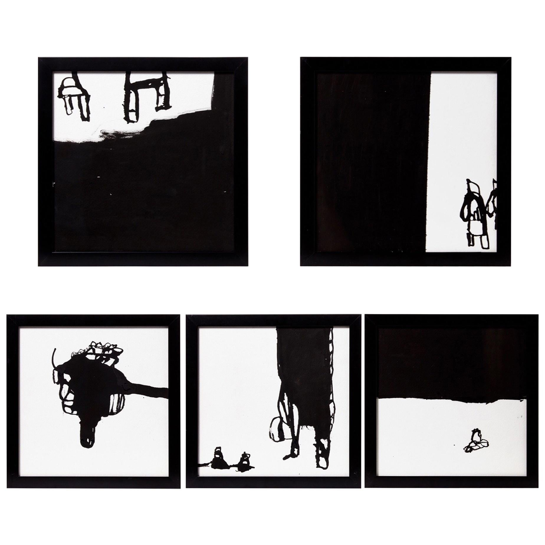 Five Black Ink on White Paper by Artist, Greg Dickerson