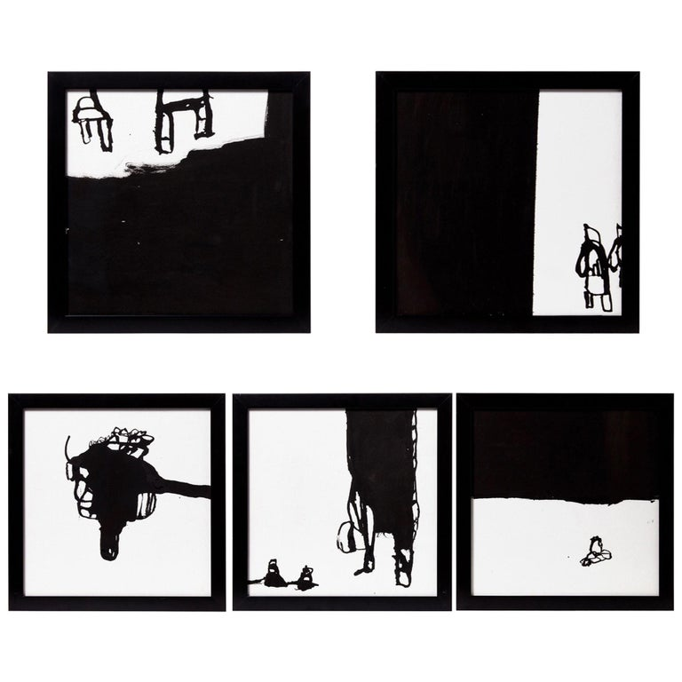 Five Black Ink on White Paper by Artist, Greg Dickerson For Sale