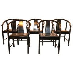 Five Black Lacquered Dining Chairs, Very Similar to the Hans Wegner China Chair