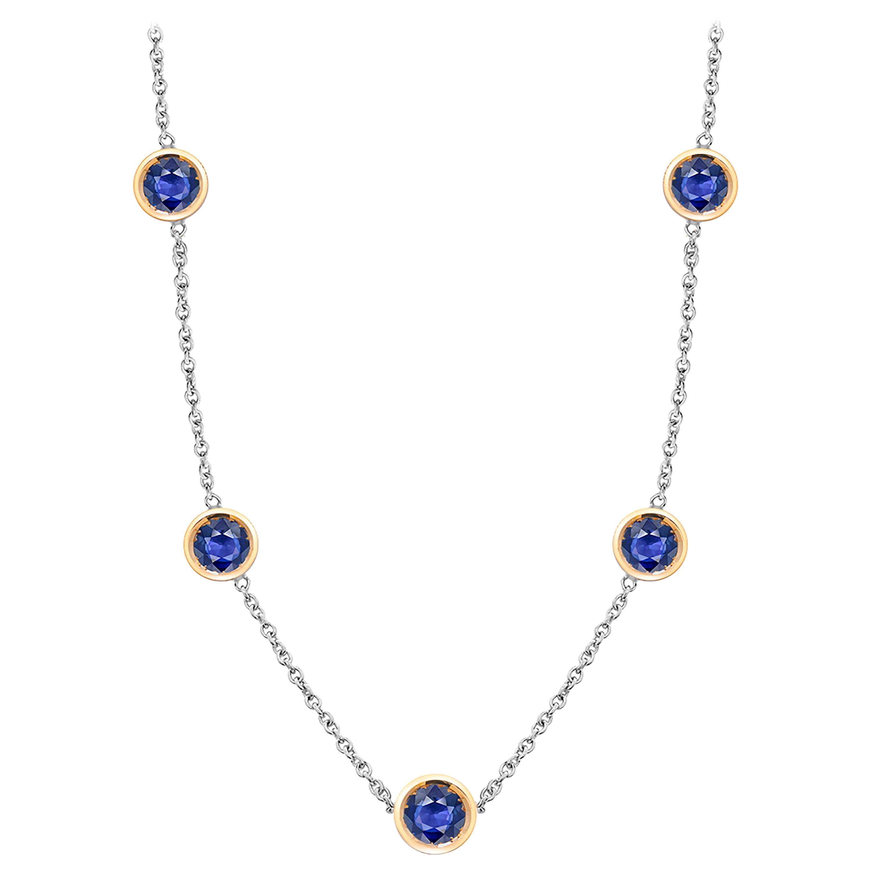Five Blue Sapphires Bezel Set Two-Tone Gold Pendant Necklace