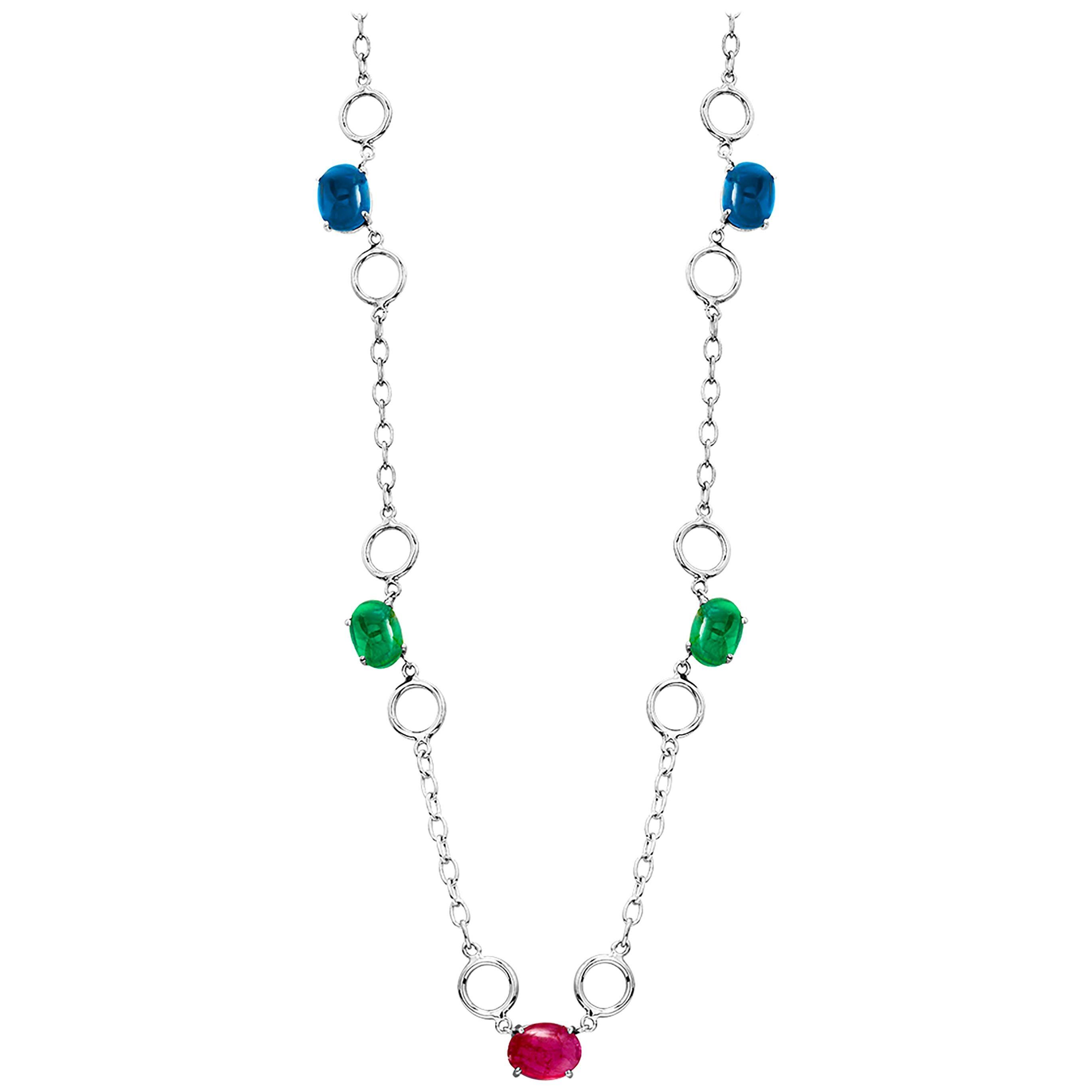 Five Cabochon Sapphire Ruby Emerald Sautoir White Gold Necklace