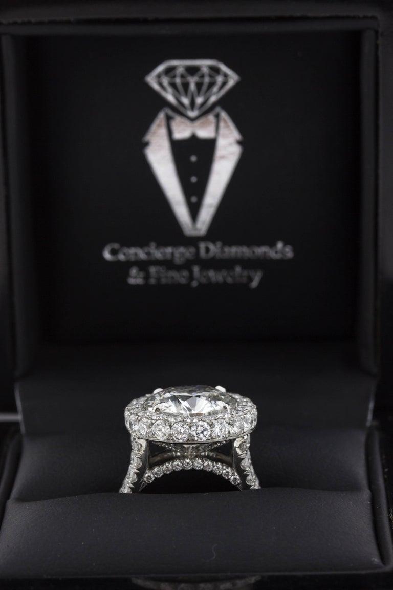 Round Cut 5 Carat Custom Diamond and Platinum Engagement Ring (GIA) For Sale