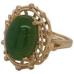 Five Carat Jade Yellow Gold Cabochon Ring