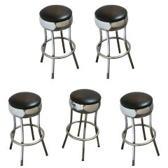 Five American Chrome Bar Stools 'Priced Individually'