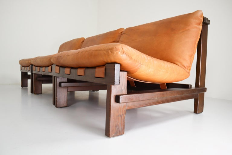 Five Cognac Leather lounge Chairs, Sofa by Carl Straub Germany, 1960s 8