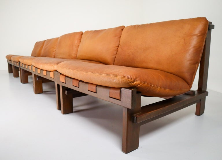 Mid-Century Modern Five Cognac Leather lounge Chairs, Sofa by Carl Straub Germany, 1960s
