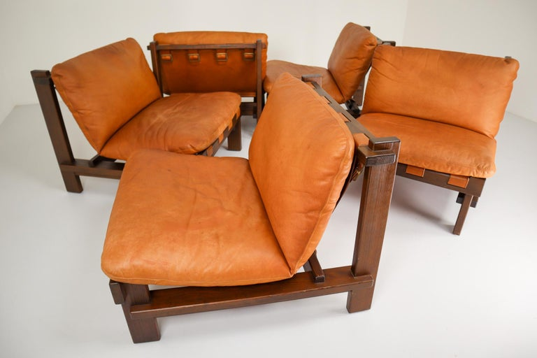 Five Cognac Leather lounge Chairs, Sofa by Carl Straub Germany, 1960s In Good Condition In Almelo, NL
