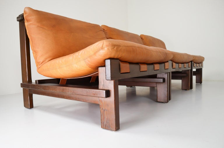 20th Century Five Cognac Leather lounge Chairs, Sofa by Carl Straub Germany, 1960s