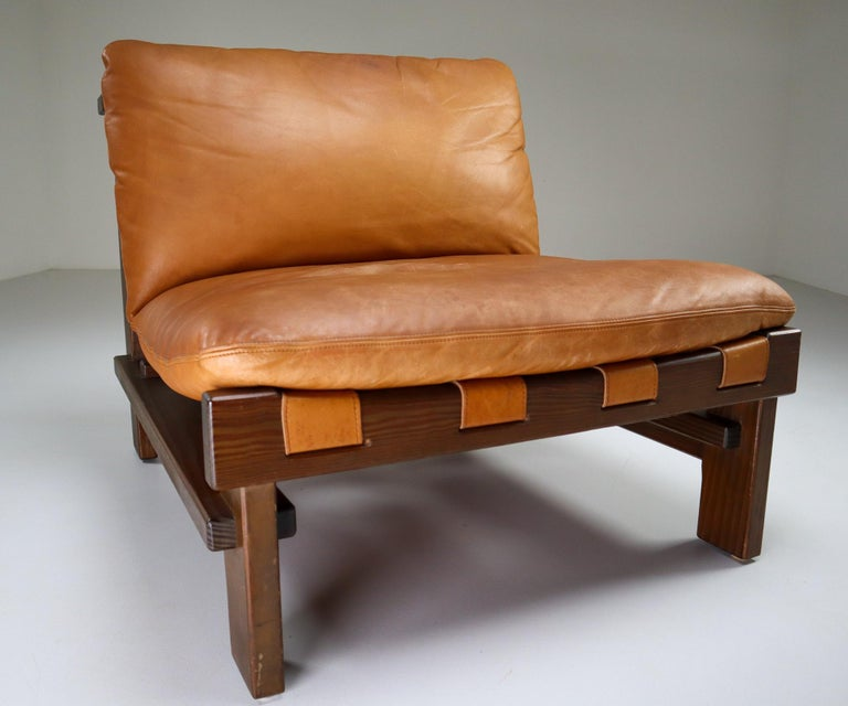 Five Cognac Leather lounge Chairs, Sofa by Carl Straub Germany, 1960s 1