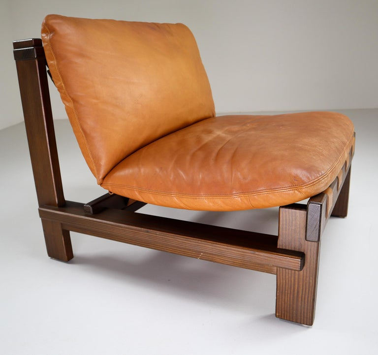Five Cognac Leather lounge Chairs, Sofa by Carl Straub Germany, 1960s 2