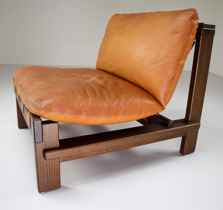 Five Cognac Leather lounge Chairs, Sofa by Carl Straub Germany, 1960s 3