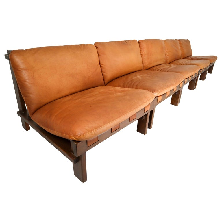 Five Cognac Leather lounge Chairs, Sofa by Carl Straub Germany, 1960s