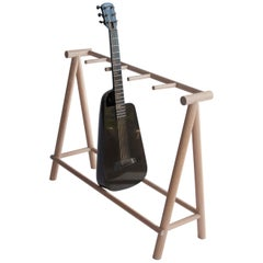 Five Count Guitar Stand in Modern Minimal White Oak