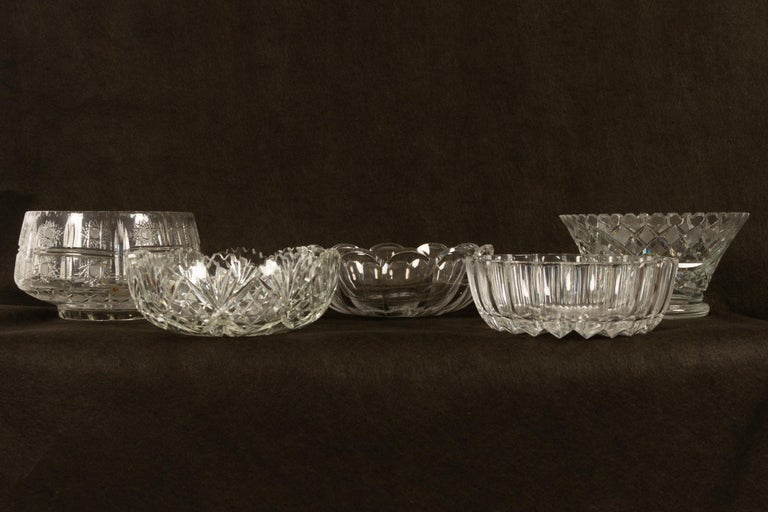 Bohemian Five Crystal Bowls For Sale