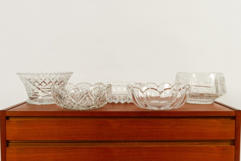 Czech Five Crystal Bowls For Sale