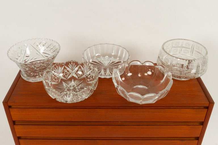 Five Crystal Bowls In Good Condition For Sale In Nibe, Nordjylland