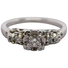 Five Diamond 14 Karat White Gold Platinum Ring