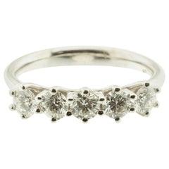 Five-Diamond 18 Karat Gold Ring