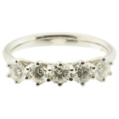 Five-Diamond 18 Karat White Gold Ring