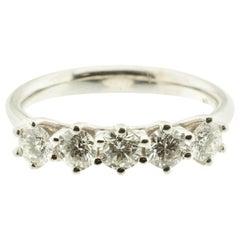 Five-Diamond 18 Karat Gold Band Ring