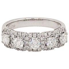 Five Diamond Band Ring 18 Karat White Gold 1 Carat Diamond Wedding Ring
