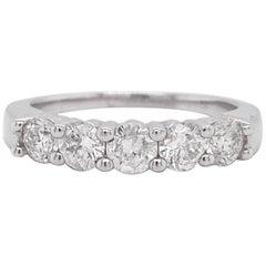 Five Diamond Band Ring, White Gold, 1.00 Carat Diamonds, Wedding Band