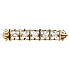 Five Diamond Yellow Gold and Enamel Bar Brooch