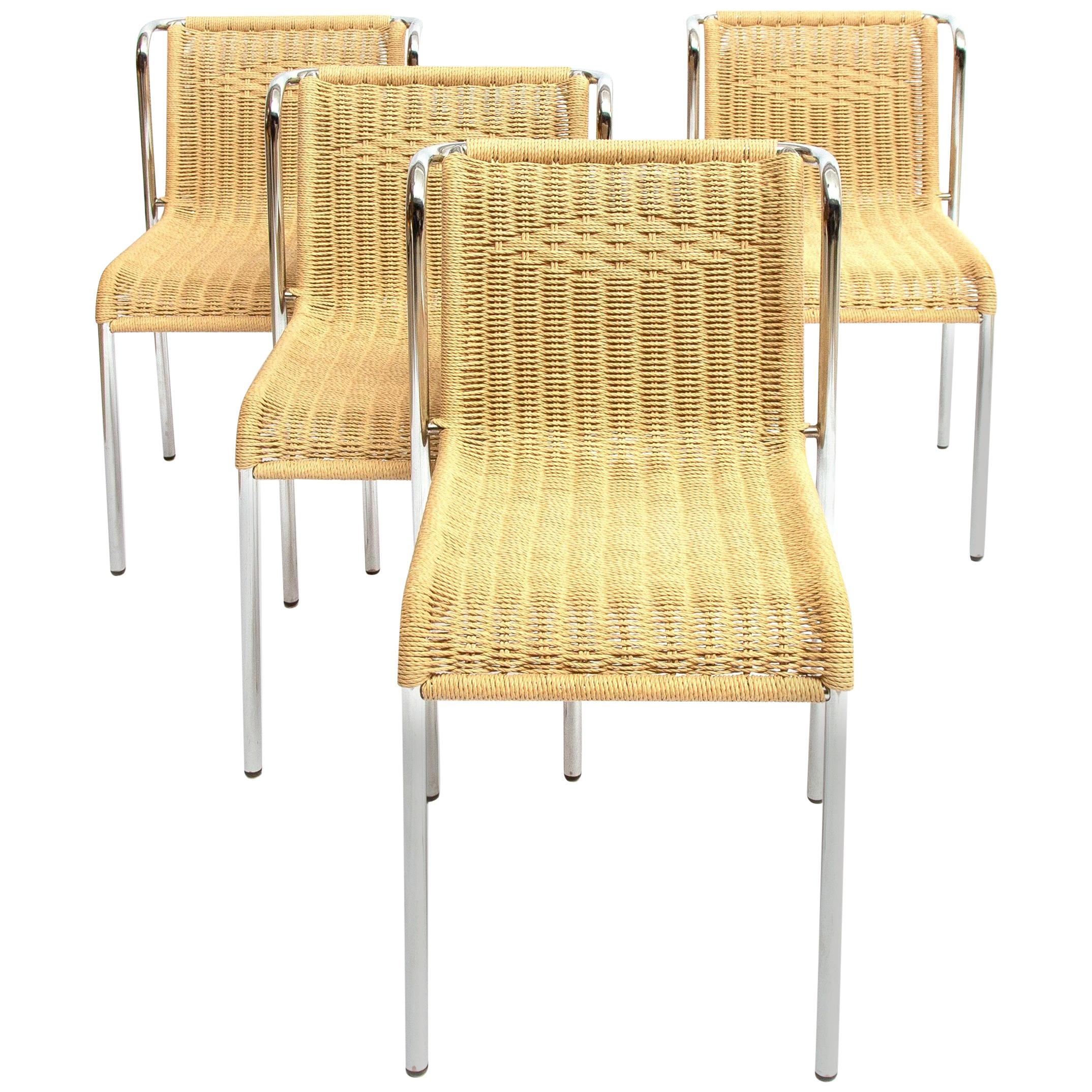 Dining Chairs Chrome-Plated Stackable, 1980s