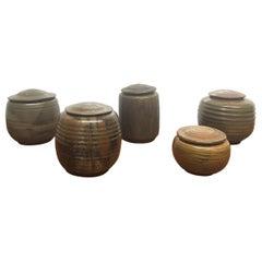 Five Donald Fletcher Glazed Pottery Covered Jars