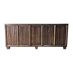 Hand Carved Scalloped Linen Folds Five-Door Walnut Credenza, France, 1940s