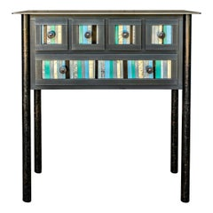 Five-Drawer Strip Quilt Table, Functional Steel Furniture by Jim Rose