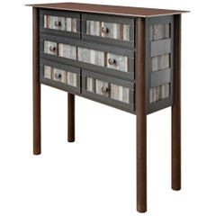 Five-Drawer Galvanized Strip Quilt Table, Functional Steel Furniture
