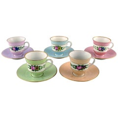 Five Early Bing and Grondahl Coffee Cups with Saucers, circa 1920