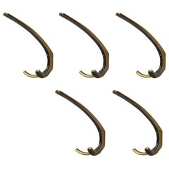 Five Elegant Wall-Mounted Brass Hooks, Vienna, 1950