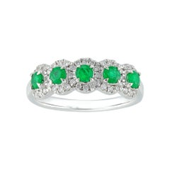 Five Emerald and Diamond Cluster Ring