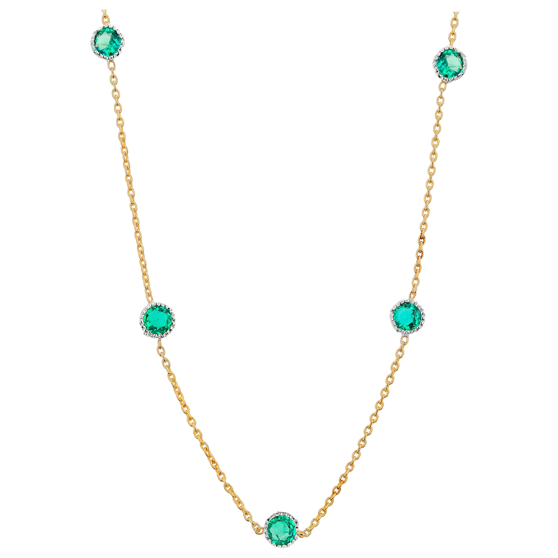 Five Emeralds Bezel Set Two-Tone Gold Pendant Necklace