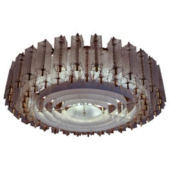 Five Extra Large Midcentury Chandeliers in Structured Glass and Brass, Europe