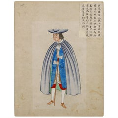 Five Extremely Rare Chinese Drawings of Foreigners, 18th Century, Colonial