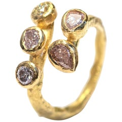 Five Fancy Colored Diamonds 18 Karat Gold Textured Open Ring