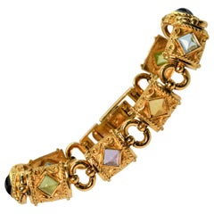 Five Flavors Yellow Gold Multi Stone Link Bracelet by AE