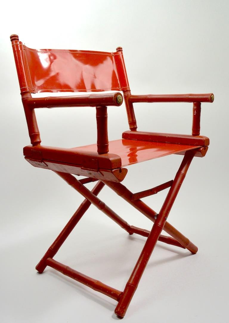 Mid-Century Modern Five Folding Campaign Chairs by Telescope For Sale