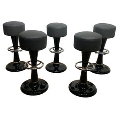 Five French 1950s Barstools, Heavy Metal, Black Lacquer, Chrome, Grey Leather
