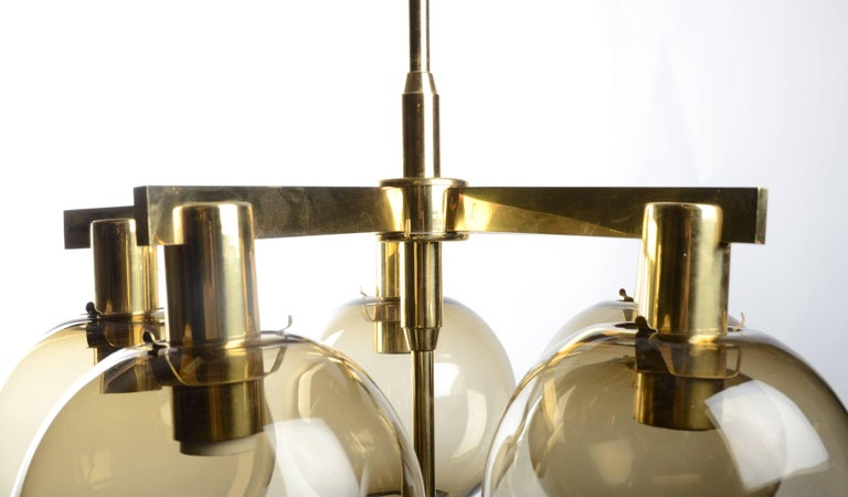 Scandinavian Modern Five-Globe Chandelier by Hans-Agne Jakobsson, Markaryd, 1960s For Sale