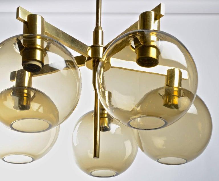 Swedish Five-Globe Chandelier by Hans-Agne Jakobsson, Markaryd, 1960s For Sale