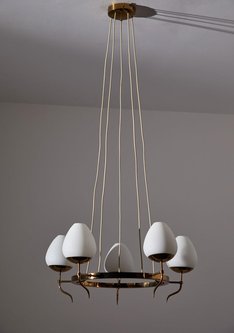 Five Globe Chandelier by Stilnovo In Good Condition For Sale In Los Angeles, CA