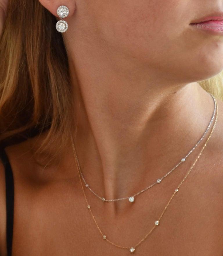 Round Cut Five Graduating Diamond Bezel-Set Yellow Gold Necklace Pendant For Sale