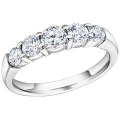 Five Graduating Round Diamond Partial Prong Set 18 Karat Gold Ring