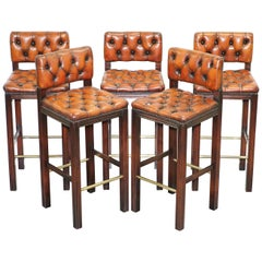 Five Harrods London Fully Restored Chesterfield Brown Leather Bar Kitchen Stools