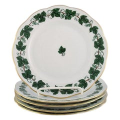 Five Herend Green Grape Leaf & Vine Side Plates in Hand-Painted Porcelain
